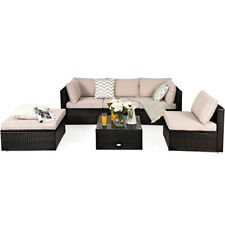 6Pcs Outdoor Patio Rattan Furniture Set Cushioned Sectional Sofa Ottoman