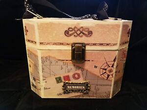 "Decorative Keepsake Memories ""Purse"" Box with clasp and ribbon handle"