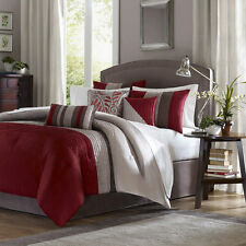 Beautiful 7Pc Modern Chic Tan Brown Taupe Red Leaf Stripe Pintuck Comforter Set