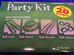 St. Patrick's Day Irish Green Hat Leis Beads Glasses Boxed Party Favor Kit