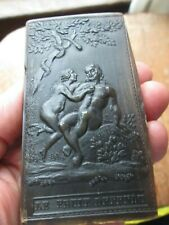 Antique - mid 19th C - FRENCH -  HORN SNUFF BOX w/ NUDE ADAM & EVE & VERSE #2