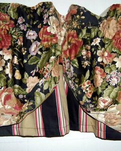 Waverly Villa Carlotta Floral Striped Valance Black Rose