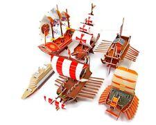 Six 3D Ship Puzzles, Passenger, Santa Maria, Roman War, Turtle, Panok, Junk Ship