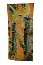 Zeckos Blaze Orange Leaf Camouflage Cotton Beach Towel 28 X 58 Inches