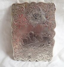 c1847 Antique YAPP & WOODWARD Silver Visiting Card Case HARBOUR SCENE ? Cornwall