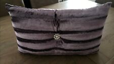 Luxury Fur Jewel Boudoir Cushion Diamanté Velvet Purple NEW