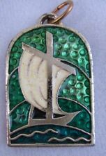 Vintage Catholic MEDAL Barque of Peter Stained Glass Enamel UNIQUE!