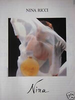 PUBLICITÉ 1989 NINA DE NINA RICCI  - ADVERTISING