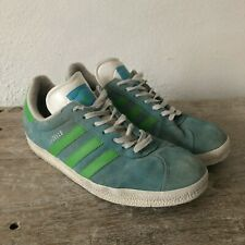 Vintage Adidas Gazelle Retro Green Blue Turquoise Suede Trainers Sneakers UK8.5