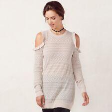 LC Lauren Conrad Women's Pointelle Cold-Shoulder Crewneck Sweater Size XL - NWT
