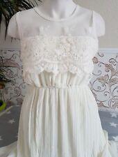Maxikleid Chiffon Spitze Kleid Empire Darling Vintage Sommer Brautkleid S 36 38