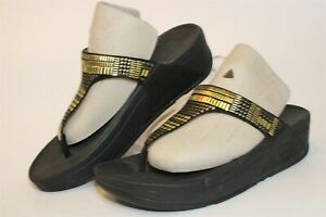FitFlop NEW Aztek Chada Black Womens 6 37 Suede Thongs Platform Sandals Shoes