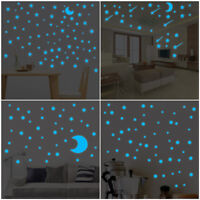 Glow In Dark Star Wall Stickers Round Dot Star Moon Luminous Kids Room Decor