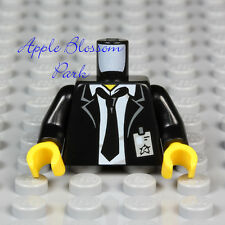 NEW Lego Male MINIFIG TORSO Black Suit White Shirt Man Tie Police Agent ID Badge