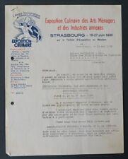 Facture  L ALSACE GASTRONOMIQUE HOTELIERE STRASBOURG 1938 old bill Rechnung 19