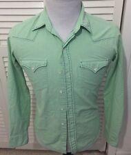 Ralph Lauren Black Label Men's Button Front Shirt Lime Green Blue Western Small