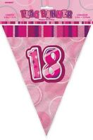 GLITZ PINK FLAG BANNER 18TH BIRTHDAY 3.6M/12' BIRTHDAY PARTY DECORATION