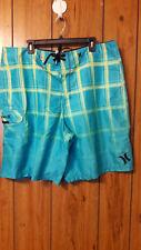 Hurley Mens Teal Blue/Green Windowpane Board Shorts Size 40