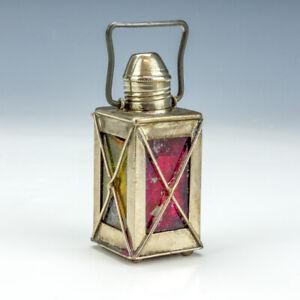 Antique Silver Plated Lantern Formed - Pocket Travel Inkwell Ink Bottle