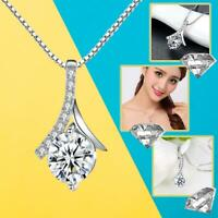 Herringbone Water Drop Shape Crystal Pendant Necklace 925 Sterling Silver Plated