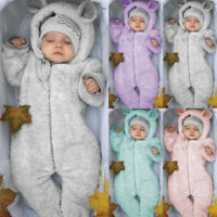 Newborn Baby Kid Boy Girl Winter Romper Jacket Hooded Jumpsuit Coat Tops Outfit