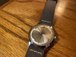 Vintage 1966 Silver Timex Marlin Made In Great Britain Beautiful Condition!