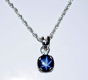 4-5 Ct. Natural Oval 6 Rays Star Blue Sapphire 925 Sterling Silver Pendant