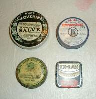 Vintage 4 Assorted Advertising Tins Salve Ex Lax Shoe Preservative