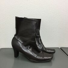Women's Aerosoles Dark Brown Faux Leather Heeled Zip Ankle Boots Booties Size 8