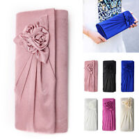 Ladies Satin Clutch Bag With Rose Evening Wedding Party Prom Bridal Handbag