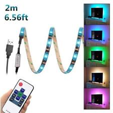 2M USB LED Strip Light TV Back Lamp 5050RGB Colour Changing+Remote Control NEW