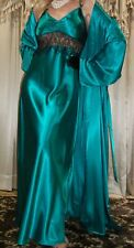 Vtg Emerald Green Black Lace Shiny Satin Long Slip Nightgown & Robe 1X Xl 42 44