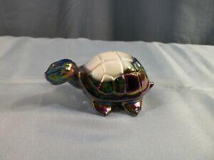 Fenton by Mosser Amethyst & White Carnival Slag Glass Turtle Figurine
