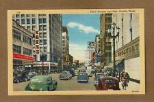Seattle, WA Washington, Third Avenue and Pike circa 1942