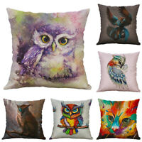 Owl Animal Printing Cotton Linen Pillow case Cushion Cover Sofa For Home Decor