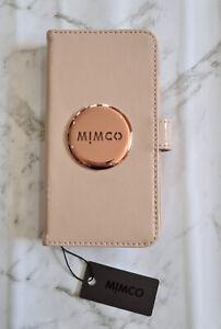 BNWT MIMCO MIM Flip Case For iPhone 6 PLUS 7P 8P PANCAKE ROSE GOLD Brushed Logo