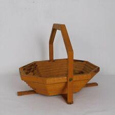 "Wood Telescoping Basket w/Stand Octagonal Fruit Bread Picnic Decor 11x13.625x11"""