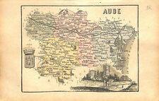 Département de l'Aude Carcassonne L'Aveyron Rodez France MAP CARTE 1873