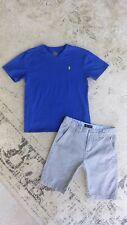 Lot Ralph Lauren Polo Blue V-neck Tee & Nautica Gray Shorts Sz. 10 12 Medium Euc