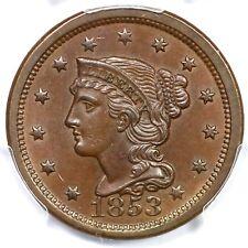 1853 N-9 R-2 PCGS MS 63 BN E-MDS Braided Hair Large Cent Coin 1c