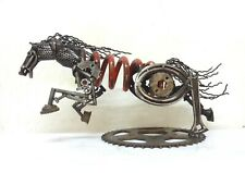 18´´ STEAMPUNK METAL INDUSTRIAL ART RACING HORSE 10 LBS RECYCLED SCULPTURE WOW