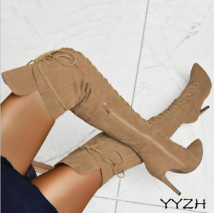 Ladies Over The Knee Thigh High Boots Womens Stiletto Heels Lace Up Zipper Shoes