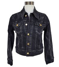 NWT $319 TRUE RELIGION Black Denim Trucker Moto Jacket Womens Small