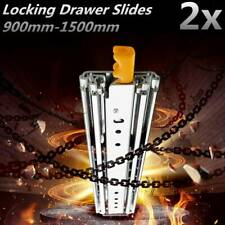 2Pcs 94 166 KG Locking Drawer Slides Heavy Duty 900-1500mm Locking Ball Bearing