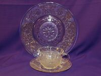 VINTAGE ANCHOR HOCKING CRYSTAL SANDWICH GLASS 3 PC PLACE SETTING