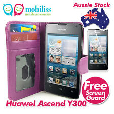 Huawei Ascend Y300 Purple PU Leather TPU In Wallet Case Cover Screen Protector