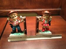 Vintage The Mean-Old Kids Bookends Cowboy & Cowgirl, Enesco Japan mid century