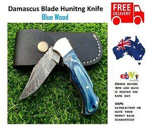 Handmade Blue Wood  Damascus Pattern Steel Pocket Knife Folding Hunting Camping