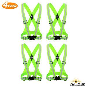 4 X Reflective Strap Safety Vest Running Gear - Running, walking, Bike Cycling