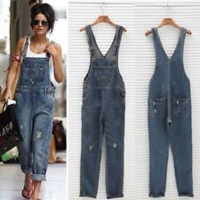 Women Baggy Denim Jeans Bib Full Length Pinafore Dungaree Overall Jumpsuit Pants
